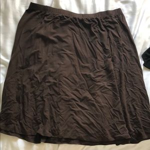 Stretchy Brown Knee Length Skirt